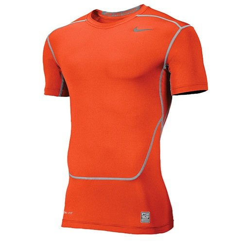 Nike Men's Pro Combat Core Compression 2.0 Short Sleeve Shirt, Orange, Large