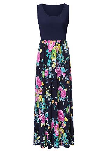 Zattcas Sleeveless Summer Maxi Dress for Women Long Casual Dress (X-Large,Navy-1)