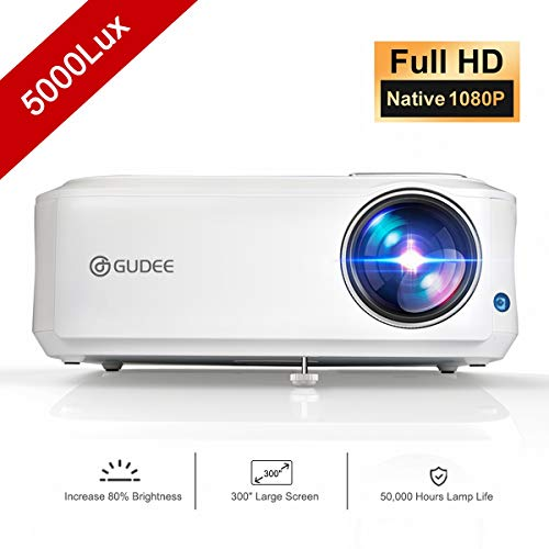Native 1080P Projector, GuDee Full HD Video Projector for Business PowerPoint Presentation, 5000 Lux Movie Projectors for Home Theater, Compatible with Laptop iPhone Android HDMI USB Fire TV
