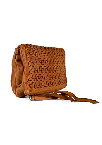 The Extreme Collection borsa a spalla donna tote - shopper in vera pelle colore cammello made in italy 56x26x12cm Camel