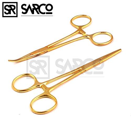 Sarco Set of 2 Gold Color CRILE Hemostat Forceps 5.5