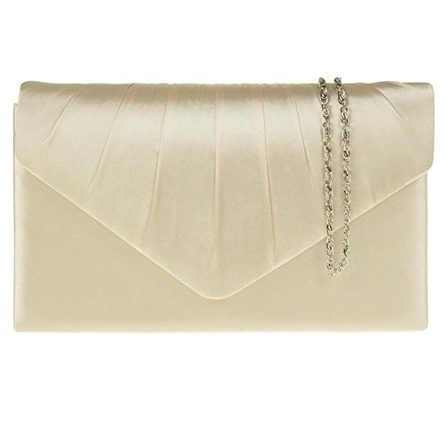 Clutch Party New Gold Zarla Bags Prom Uk Evening Envelope Satin Pleated Bridal Women Ladies Xr0wd0Oq