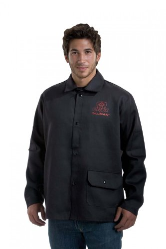 John Tillman 9060XL X-Large 30'' Black 9 oz. Westex Proban FR7A Cotton Flame Retardant Jacket with Snap Front Closure, English, 15.34 fl. oz., Plastic, 1 x 1 x 1 by John Tillman