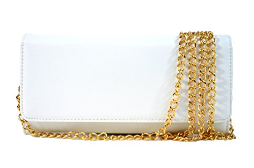 Bi Fold Clutch - Women's Faux Saffiano Bifold Cross Body Clutch Wallet (White)