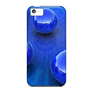 Iphone 5c Hard Back With Bumper Cases Covers Blue Sphere