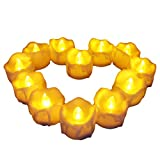 Flameless Candles - Benvo 12 Pack Warm Yellow Battery Powered Tea Lights Realistic Unscented LED Candles for Parties, Votives, Tealight Holders Fall Decor, Diwali, Halloween, Christmas Decoration