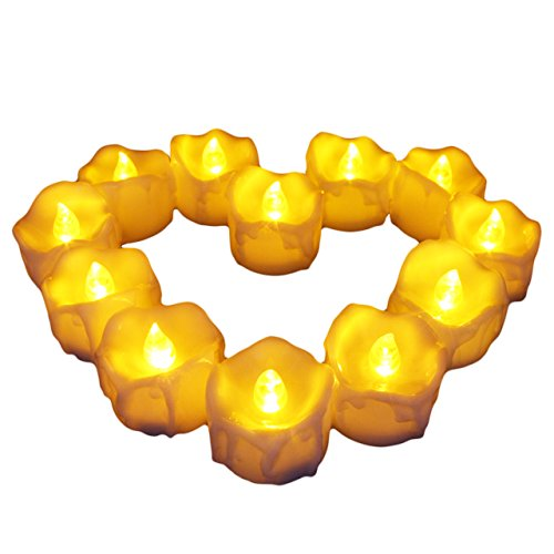 [Flameless Candles - 12 Pack Warm Yellow Battery Powered Tea Lights Realistic Unscented LED Candles for Parties, Votives, Tealight Holders Fall Decor, Diwali, Halloween, Christmas] (Halloween Decor Online)