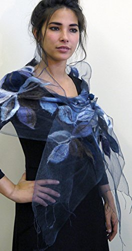 ''Blue Lily Nuno Shawl'' handwoven pure silk organza shawl with hand-felted merino wool design 15'' x 85'' by Alarte Silks