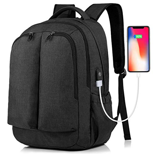Tocode Laptop Backpack Large Travel Bag Anti Theft Durable Laptops Backpack Fits 15.6 Inch Laptop and Notebook with USB Charging Port and Earphone Hole for Travel/Business/College/Women/Men (Black)