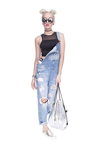 Fringoo Hologram Shoulder School Silver Drawstring Sackpack Drawstrings Silver Women's PE Backpack Holographic Mens Bag Gym String Travel Luggage Fashion ® Unisex rSOqrz