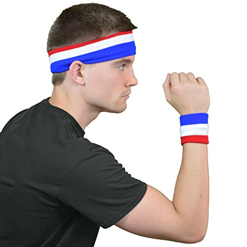 American Pride Sweatband Set. Ideal for tennis, fitness etc.