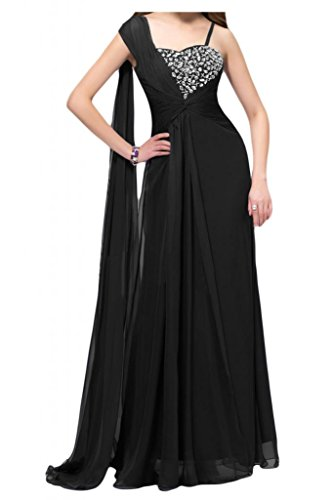 Por la noche de la moda nupcial de la Toscana dos-Traeger por la noche vestidos de novia de Gasa de cristal virgen bola de largo Prom vestidos de fiesta negro