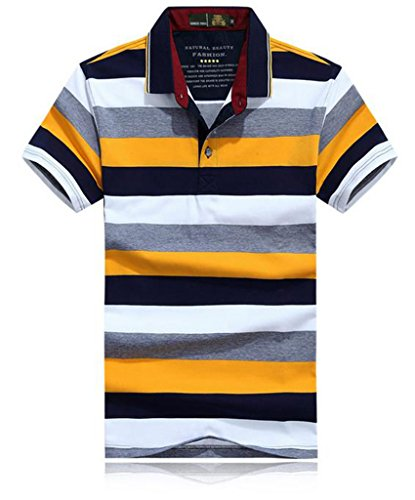 GuDeKeメンズ 夏 ポロシャツファッション 半袖シャツ ストライプ 修身 半袖Tシャツ 綿 開襟シャツ ゴルフウエア