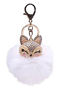 Amazon generic real fox fur ball with artificial fox head inlay generic real fox fur ball with artificial fox head inlay pearl rhinestone key chain for womens mozeypictures Gallery