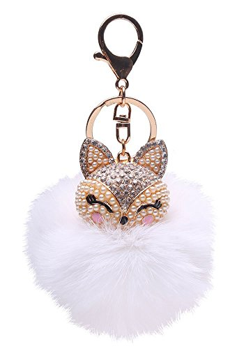 Generic Real Fox Fur Ball with Artificial Fox Head Inlay Pearl Rhinestone Key Chain for Womens Bag or Cellphone or Car Pendant (White)