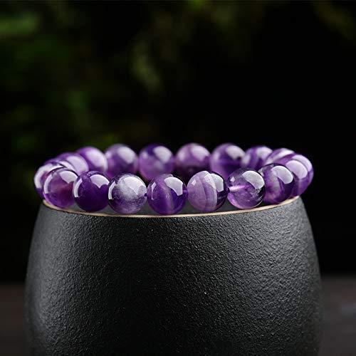 (Purification Bracelet - Handmade Natural Semi-Precious Amethyst Bracelet - Stone Beaded Stretch Bracelet 8mm - Gemstone Round Beads Natural Stone Yoga Bracelet - )