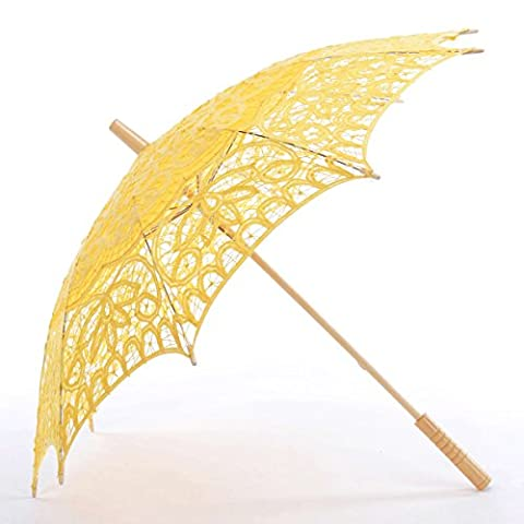 Topwedding Classic Cotton Lace Parasol Umbrella Bridal Shower Decoration, Yellow (Theatrical Umbrella)