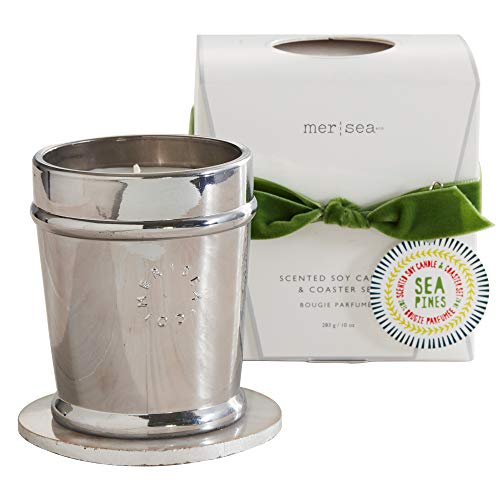 MER SEA & CO Holiday Metallic Glass Scented Candle with Agate Coaster - Sea Pines - 10 Oz, Boxed (60+ Hour Burn)