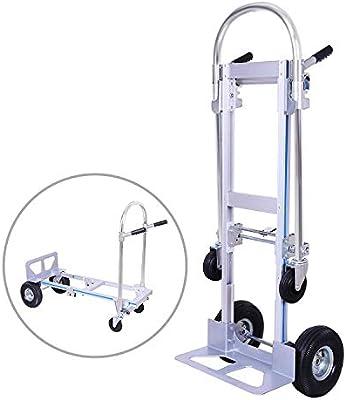 Mophorn 2 IN 1 Handklappwagen Aluminiumklappwagen mit 2 oder 4 R/ädern Handklappwagen Kapazit/ät von 250 bis 350 kg 2 in 1