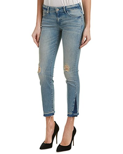 True Religion Women's Cora Mid Rise Straight Crop Jean, Blue Dream Destroyed, 28