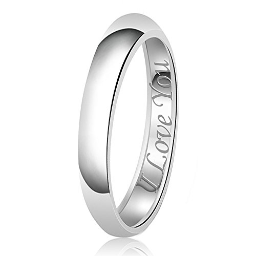 3mm I Love You Engraved Classic Sterling Silver Plain Wedding Band Ring, Size 8 - 3mm Engraved Band