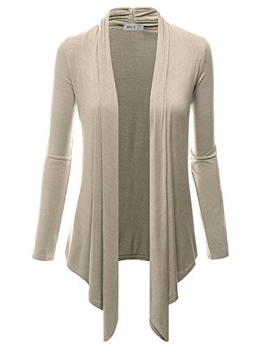 Doublju Women Solid Color Stretchy Sweater Gym Wear MOCHA Cardigan,Medim,M