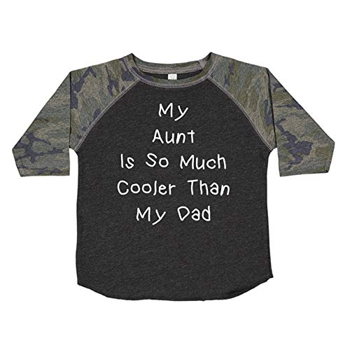 My Aunt is So Much Cooler Than My Dad - Toddler/Kids Raglan T-Shirt (Smoke/Camo 4T) ()