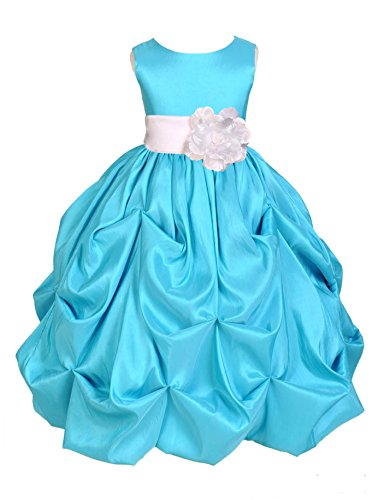 Wedding Pageant Pool Blue Bubble Pick-up Taffeta Flower Girl Dress Formal Events 301s 6