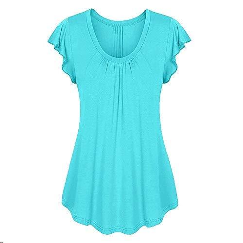 TWinmar -Women Solid Tops Row Pleats Ruffled Ruched O-Neck Short Sleeve Blouse Irregular Loose Tunic T-Shirt (Blue, - Pleats Blouse Nylon