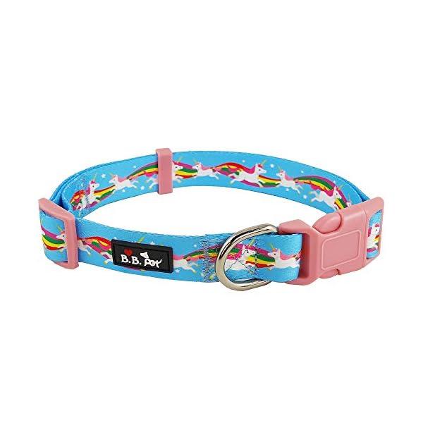 Bestbuddy Pet Unicorns and Rainbows Blue Fairytale Durable Nylon Designer Fashion Dog Collar Trendy Comfortable… 3