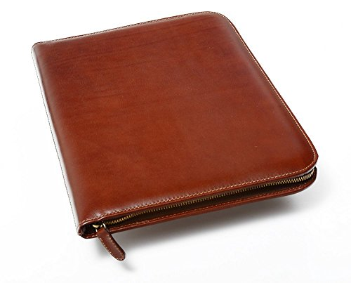 Personalized Leather Padfolio Executive Leather Writing Portfolio, Custom Engraved Business Case - Made in Italy (Custom Brown) by Maruse