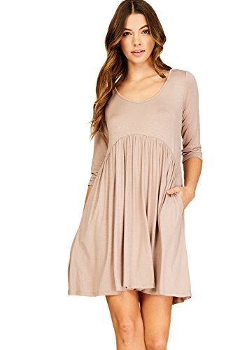 Annabelle Women's Quarter Sleeve Empire Pleated Waist Seam Mini Round Neck Plus Size Dress with Slanted Pockets Taupe Grey X-Large D5227P -