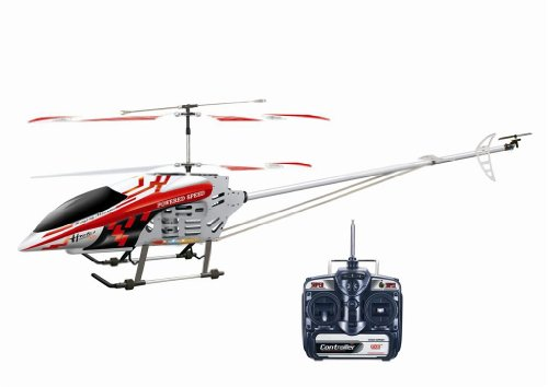 """49"""" FXD 3.5 3ch Gyro Metal Frame Rc Helicopter with LED Lights Red"""