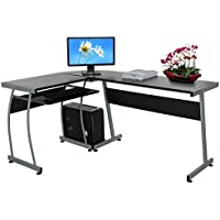 Leoneva L-Shaped Corner Computer Office Desk PC Laptop Table Workstation With Sliding Keyboard and CPU Trolley for Home Office 3-Piece, Black (US Stock)
