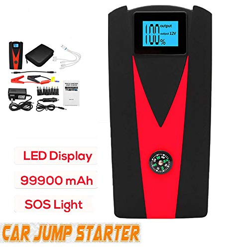 QWERDF 800A 99900Mah Portable Car Jump Starter, Waterproof 12V Power Bank with LCD Screen and Compass Car Battery Jump Starter Vehicles Auto Battery Booster (Ultimate Speed Portable Jump Starter With Power Bank)
