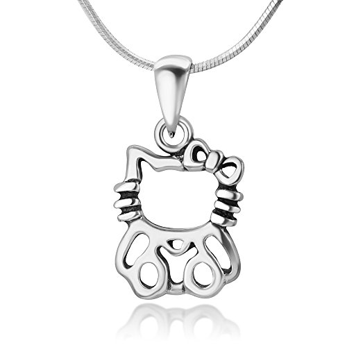 Sterling Silver Hello Kitty HelloKitty Cat with Bow Sanrio Jewelry Pendant Necklace, 18 inches