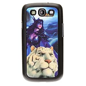 YXF Woman and Tiger 3D Changing Pattern Protective Plastic Hard Back Case Cover for Samsung Galaxy S3 I9300