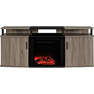 """Ameriwood Home Carson Electric Fireplace TV Console for TVs up to 70"""", Weathered Oak"""
