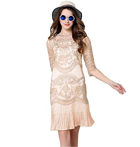 Desimpler Women's Half Sleeve Floral Lace Embroidery Mini Sheath Cocktail Party Dress (XL, Champagne)