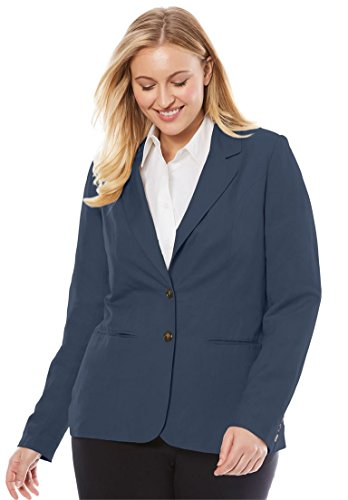 Jessica London Women's Plus Size Single-Breasted Linen Blazer Navy,14