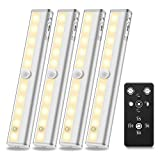 Anbock Under Cabinet Lighting Remote Control Wireless LED Closets Light Battery Operated with Timer & Touch Switch Dimmable Stick on Anywhere for Kitchen Under Counter Entryway Warm White 3000K 4 Pack