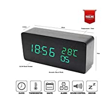 Green LED Wood Grain Timber Digital Alarm Clock 3 Display Modes 12/24 Time Hour/Min/Sec Day/Week Date/Month Temperature(°C) Thermometer Voice Control Power by 4xAAA Battery or USB Charger (Green LED)