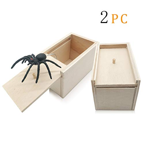 GOLF 2 Pack Spider Prank Box,Wooden Surprise Scary Spider Box ,Handmade Fun Practical Surprise Hilarious Joke Boxes