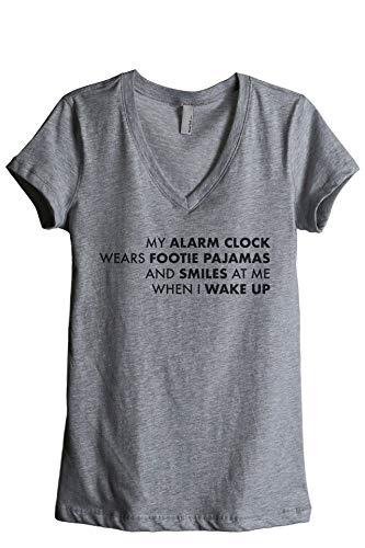 Thread Tank My Alarm Clock Wears Footie Pajamas Women's Fashion Relaxed V-Neck T-Shirt Tee Heather Grey Medium (Top 10 Best Alarm Clocks)