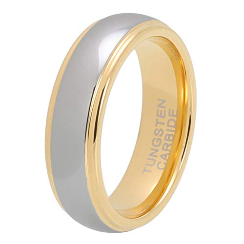 (iTungsten 6mm 8mm Gold Tungsten Rings for Men Women Wedding Bands Domed Stepped Edges Comfort Fit)