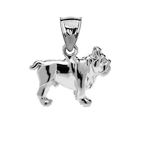 (Solid 14k White Gold Bulldog Charm Pendant)