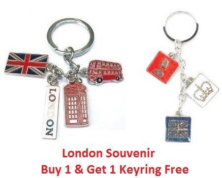 Union Jack Flag London Bus Phone Booth England Handbag Charm Souvenier Keyring - KeyChain - I Love London Keychain - London Souvenir - Jack Heart Charm