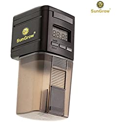 SunGrow Automatic Fish Feeder - Easy to Install on Fish Tank - Never Miss Any Feeding time - Ideal Vacation, Weekend Getaway
