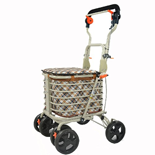 Shopping cart trolley elderly walkers four collapsible portable cart for the elderly can sit scooter hybrid trucks luggage cart (Color : Striped color, Size : 484790cm)