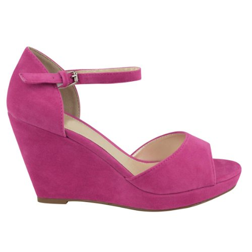 Fuchsia Women Wedge - Fashion Thirsty Womens Peep Toe Wedges Low Mid High Heel Flatforms Platform Summer Ankle Strap Strappy Shoes Size 8